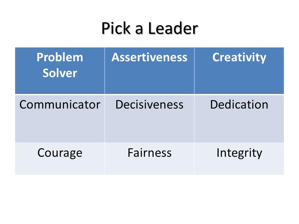 Pick a Leader Problem Solver AssertivenessCreativity CommunicatorDecisivenessDedication CourageFairnessIntegrity