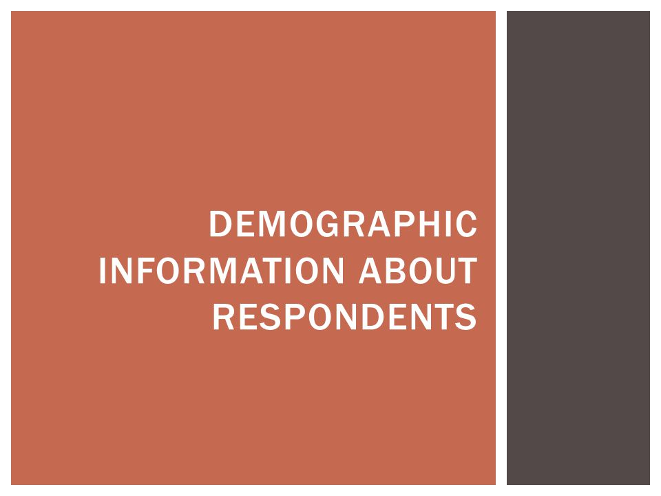 DEMOGRAPHIC INFORMATION ABOUT RESPONDENTS