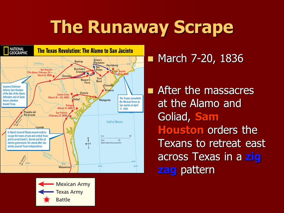 Massacre at Goliad March 27, 1836 March 27, 1836 General Urrea surrounds Colonel James Fannin & the Texans at Coleto Creek General Urrea surrounds Colonel James Fannin & the Texans at Coleto Creek Texans surrender at discretion Texans surrender at discretion General Jose Urrea Colonel James Fannin