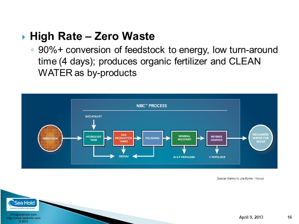 info@seahold.com http://www.seahold.com © 2013 April 9, 2013 16  High Rate – Zero Waste ◦ 90%+ conversion of feedstock to energy, low turn-around time (4 days); produces organic fertilizer and CLEAN WATER as by-products Special thanks to Joe Burke - Novus