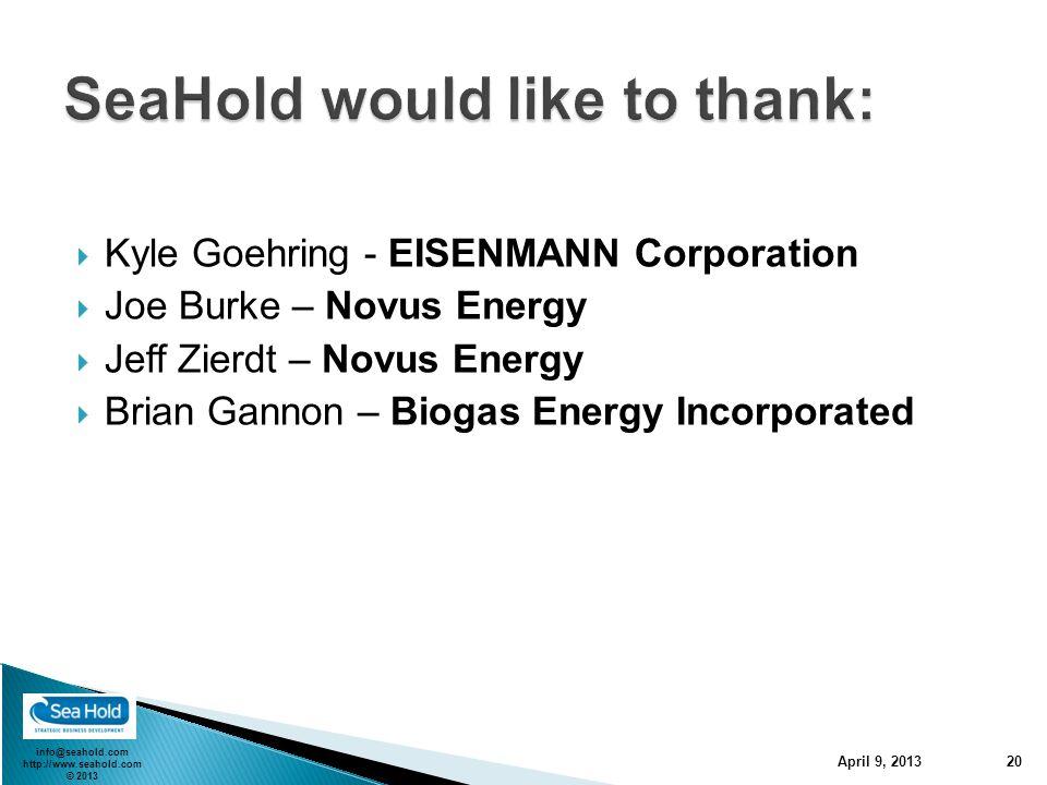 info@seahold.com http://www.seahold.com © 2013  Kyle Goehring - EISENMANN Corporation  Joe Burke – Novus Energy  Jeff Zierdt – Novus Energy  Brian Gannon – Biogas Energy Incorporated April 9, 2013 20