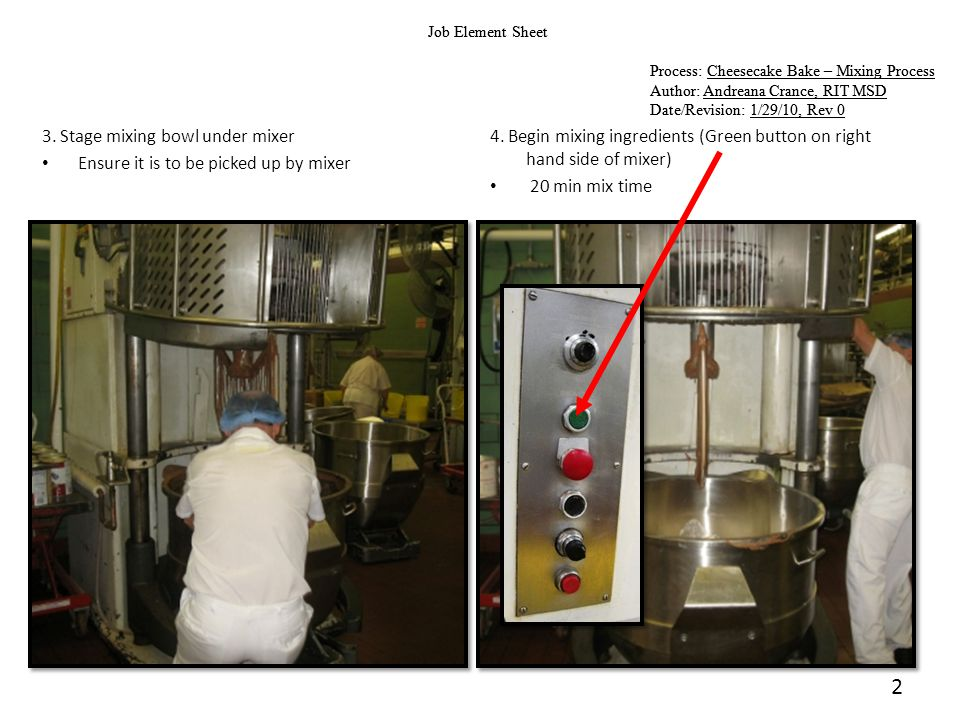 2 Job Element Sheet Process: Cheesecake Bake – Mixing Process Author: Andreana Crance, RIT MSD Date/Revision: 1/29/10, Rev 0 Job Element Sheet Process