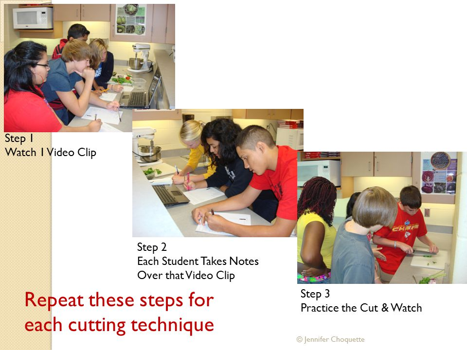 Step 1 Watch 1 Video Clip Step 2 Each Student Takes Notes Over that Video Clip Step 3 Practice the Cut & Watch Repeat these steps for each cutting tec