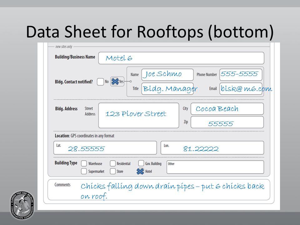 Data Sheet for Rooftops (bottom) Motel 6 Joe Schmo Bldg.