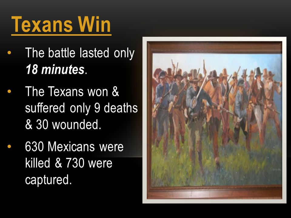 Texans Win The battle lasted only 18 minutes. The Texans won & suffered only 9 deaths & 30 wounded. 630 Mexicans were killed & 730 were captured.