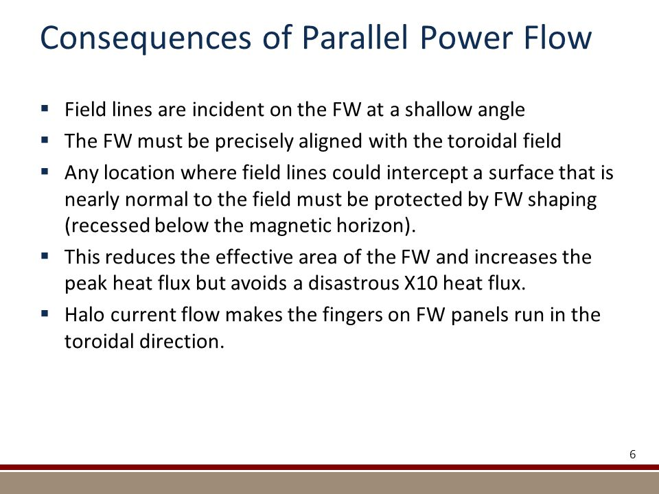 Consequences of Parallel Power Flow  Field lines are incident on the FW at a shallow angle  The FW must be precisely aligned with the toroidal field  Any location where field lines could intercept a surface that is nearly normal to the field must be protected by FW shaping (recessed below the magnetic horizon).