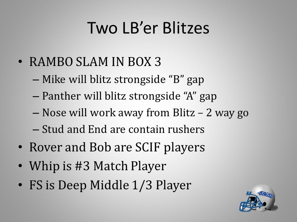 Two LB'er Blitzes RAMBO SLAM IN BOX 3 – Mike will blitz strongside B gap – Panther will blitz strongside A gap – Nose will work away from Blitz – 2 way go – Stud and End are contain rushers Rover and Bob are SCIF players Whip is #3 Match Player FS is Deep Middle 1/3 Player