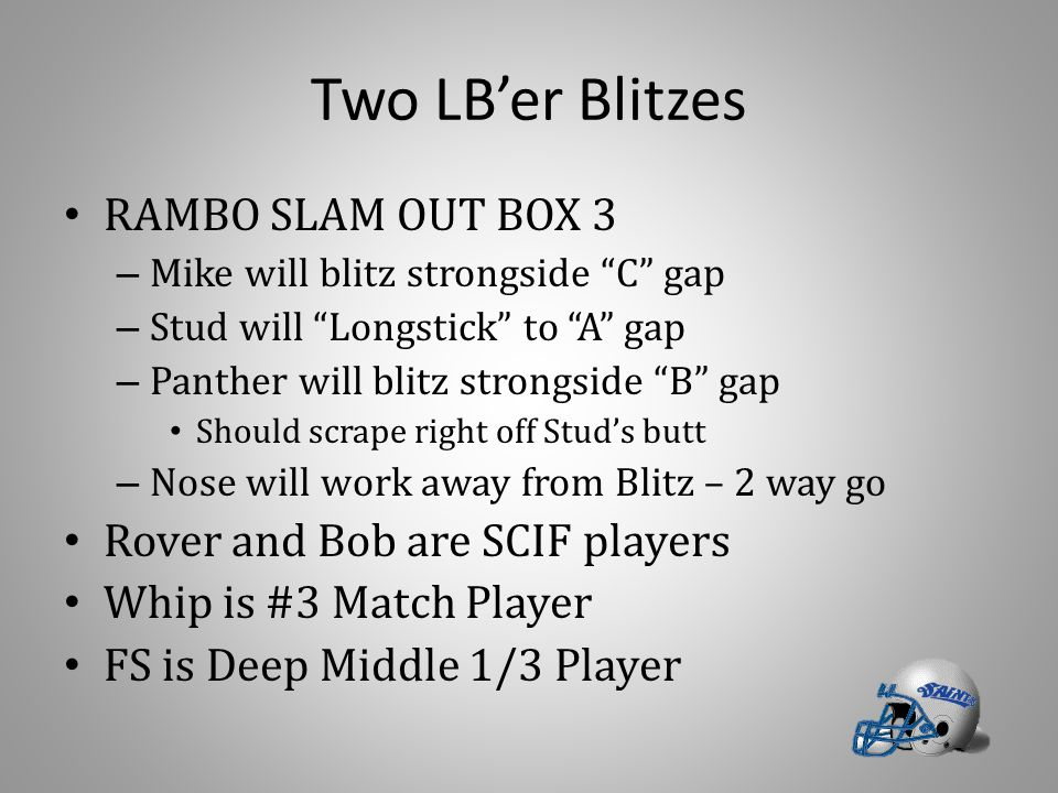 """Two LB'er Blitzes RAMBO SLAM OUT BOX 3 – Mike will blitz strongside """"C"""" gap – Stud will """"Longstick"""" to """"A"""" gap – Panther will blitz strongside """"B"""" gap"""