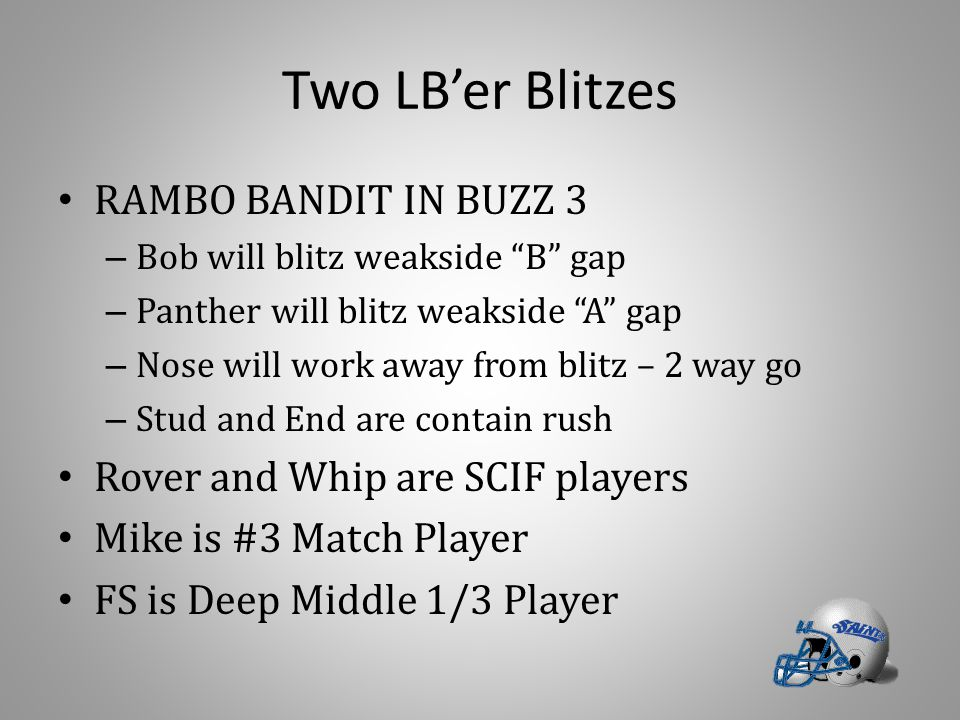 Two LB'er Blitzes RAMBO BANDIT IN BUZZ 3 – Bob will blitz weakside B gap – Panther will blitz weakside A gap – Nose will work away from blitz – 2 way go – Stud and End are contain rush Rover and Whip are SCIF players Mike is #3 Match Player FS is Deep Middle 1/3 Player