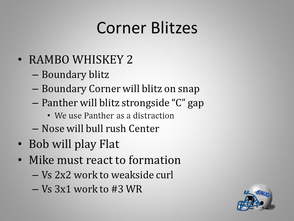 """Corner Blitzes RAMBO WHISKEY 2 – Boundary blitz – Boundary Corner will blitz on snap – Panther will blitz strongside """"C"""" gap We use Panther as a distr"""