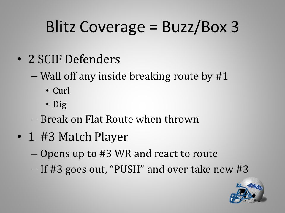 Blitz Coverage = Buzz/Box 3 2 SCIF Defenders – Wall off any inside breaking route by #1 Curl Dig – Break on Flat Route when thrown 1 #3 Match Player – Opens up to #3 WR and react to route – If #3 goes out, PUSH and over take new #3