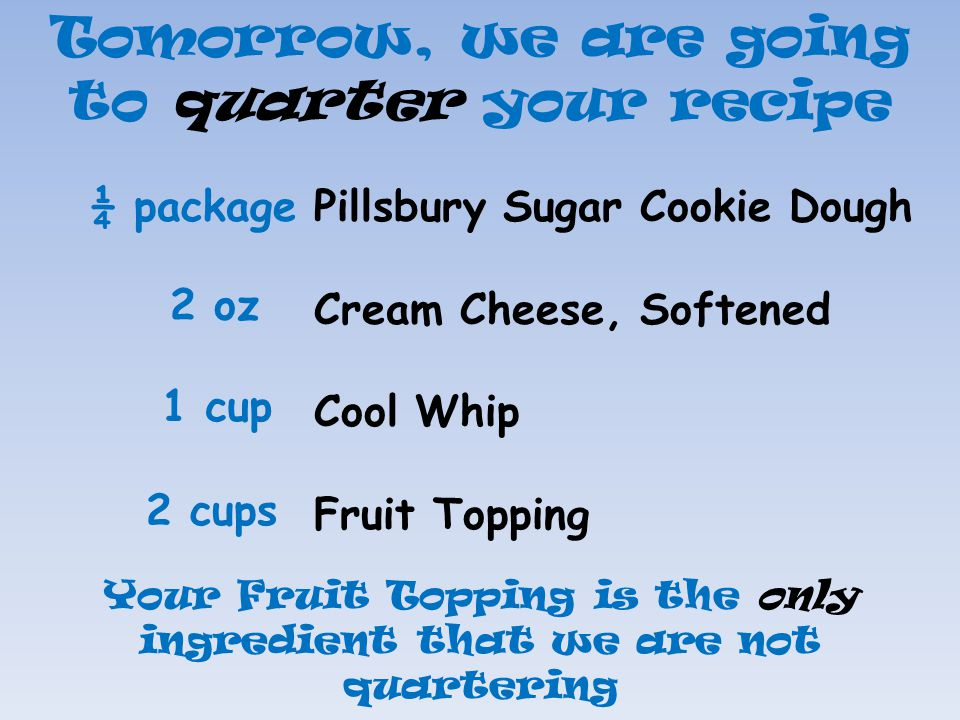 Tomorrow, we are going to quarter your recipe Pillsbury Sugar Cookie Dough Cream Cheese, Softened Cool Whip Fruit Topping ¼ package 2 oz 1 cup 2 cups
