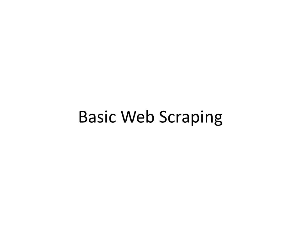Basic Web Scraping
