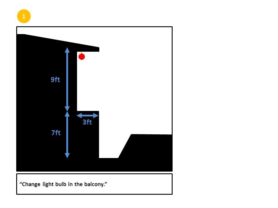 1 Change light bulb in the balcony. 3ft 7ft 9ft