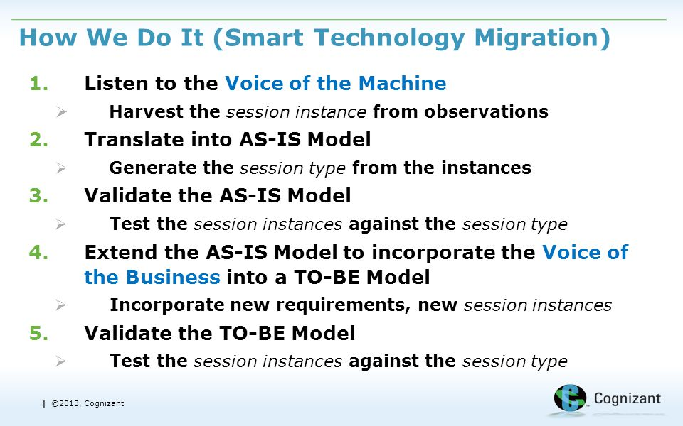 | ©2013, Cognizant How We Do It (Smart Technology Migration) 1.Listen to the Voice of the Machine  Harvest the session instance from observations 2.Translate into AS-IS Model  Generate the session type from the instances 3.Validate the AS-IS Model  Test the session instances against the session type 4.Extend the AS-IS Model to incorporate the Voice of the Business into a TO-BE Model  Incorporate new requirements, new session instances 5.Validate the TO-BE Model  Test the session instances against the session type