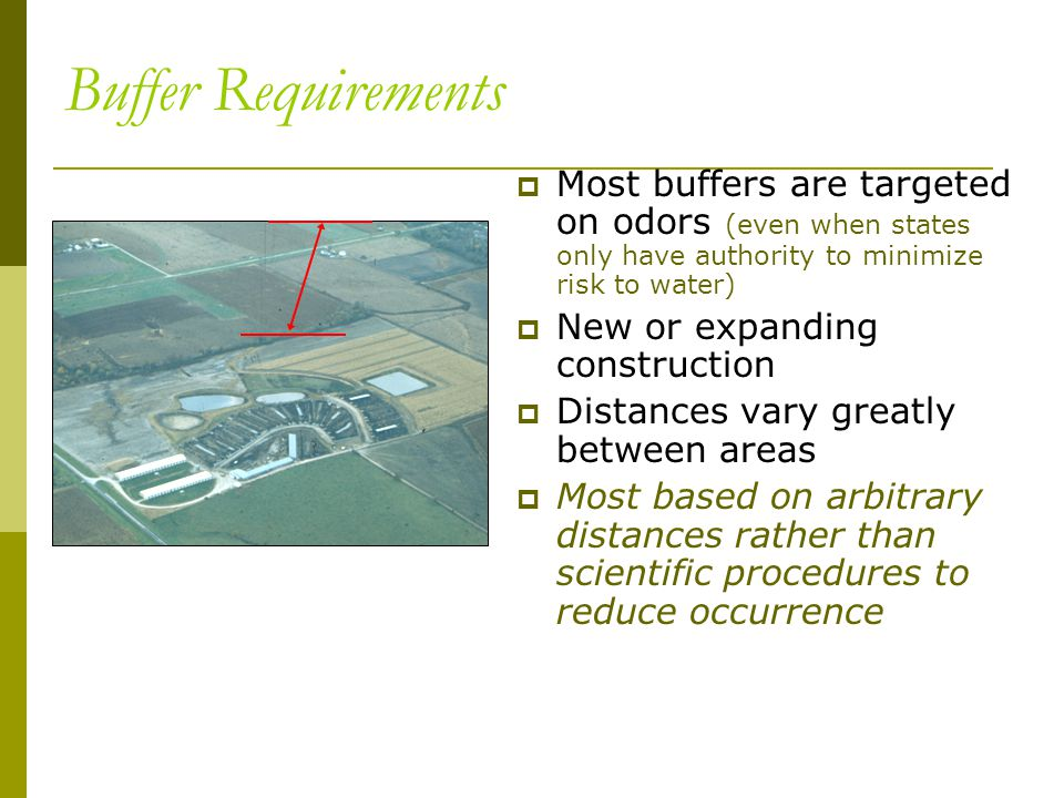 Buffer Requirements  Most buffers are targeted on odors (even when states only have authority to minimize risk to water)  New or expanding construction  Distances vary greatly between areas  Most based on arbitrary distances rather than scientific procedures to reduce occurrence