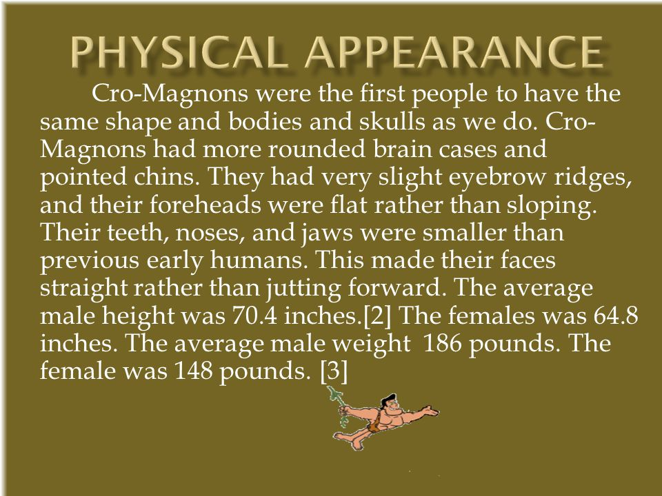 Cro-Magnons were the first people to have the same shape and bodies and skulls as we do. Cro- Magnons had more rounded brain cases and pointed chins.