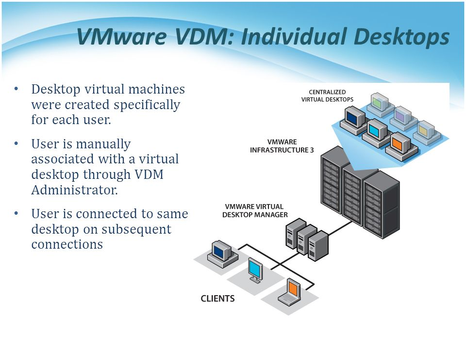 VMware VDM: Individual Desktops Desktop virtual machines were created specifically for each user. User is manually associated with a virtual desktop t