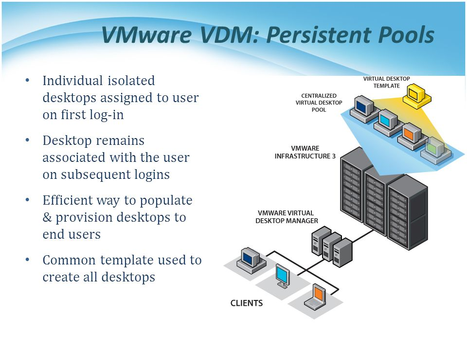 VMware VDM: Persistent Pools Individual isolated desktops assigned to user on first log-in Desktop remains associated with the user on subsequent logi