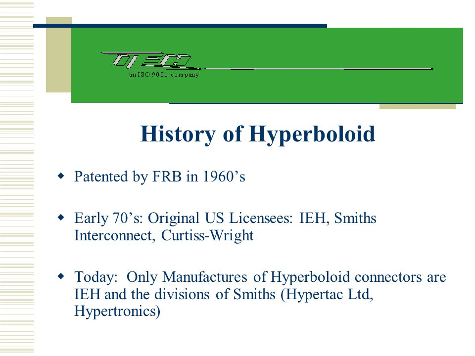 History of Hyperboloid  Patented by FRB in 1960's  Early 70's: Original US Licensees: IEH, Smiths Interconnect, Curtiss-Wright  Today: Only Manufac
