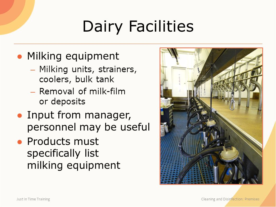 Dairy Facilities ●Milking equipment – Milking units, strainers, coolers, bulk tank – Removal of milk-film or deposits ●Input from manager, personnel m