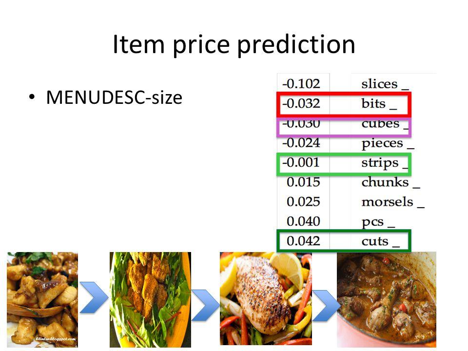 Item price prediction MENUDESC-size