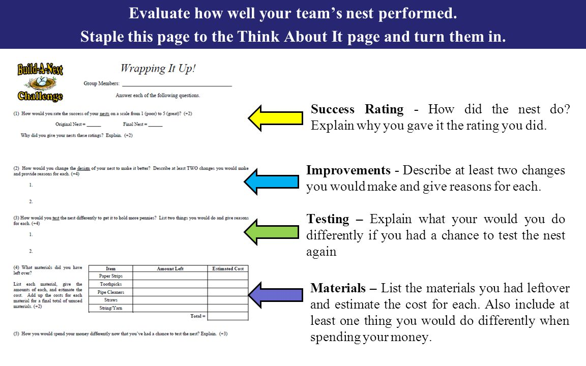 Evaluate how well your team's nest performed. Staple this page to the Think About It page and turn them in. Success Rating - How did the nest do? Expl