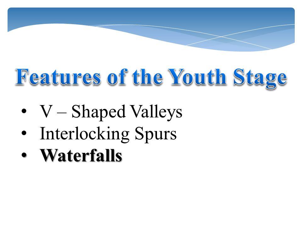 V – Shaped Valleys Interlocking Spurs Waterfalls Waterfalls