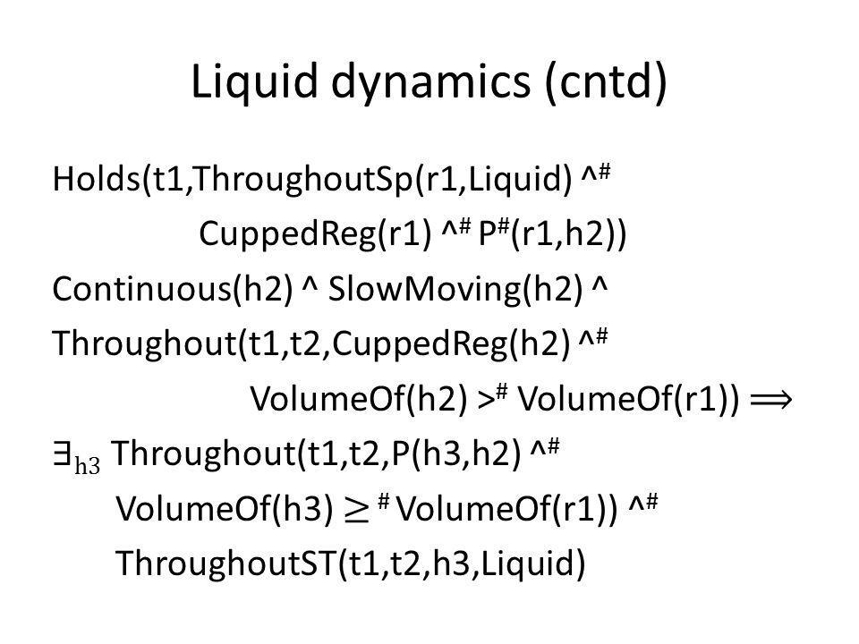 Liquid dynamics (cntd) Holds(t1,ThroughoutSp(r1,Liquid) ^ # CuppedReg(r1) ^ # P # (r1,h2)) Continuous(h2) ^ SlowMoving(h2) ^ Throughout(t1,t2,CuppedReg(h2) ^ # VolumeOf(h2) > # VolumeOf(r1)) ⟹ ∃ h3 Throughout(t1,t2,P(h3,h2) ^ # VolumeOf(h3) ≥ # VolumeOf(r1)) ^ # ThroughoutST(t1,t2,h3,Liquid)
