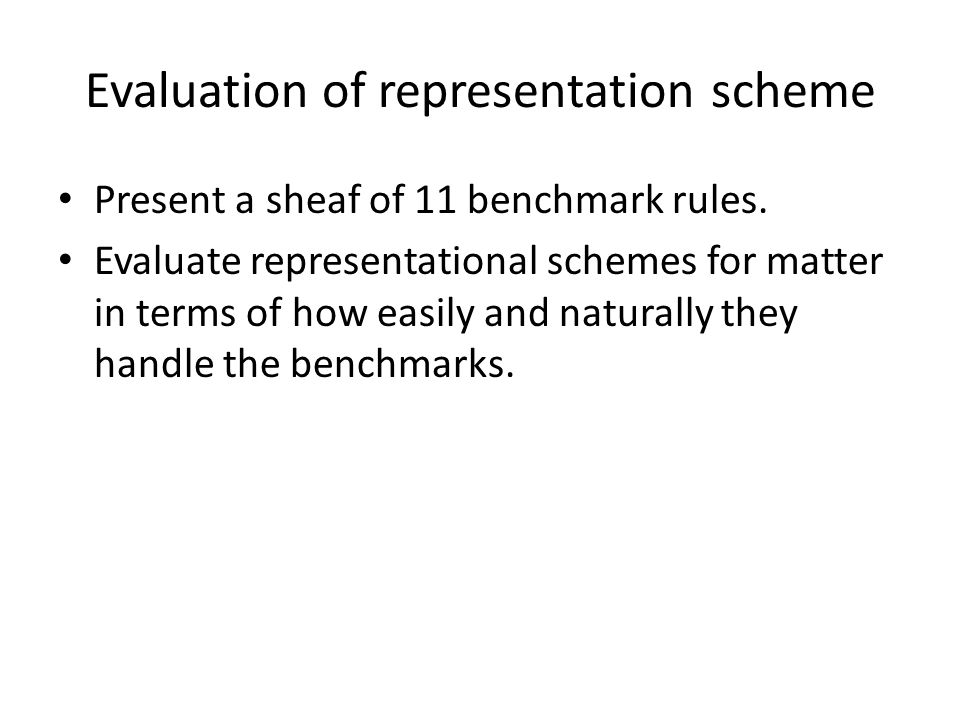 Evaluation of representation scheme Present a sheaf of 11 benchmark rules.