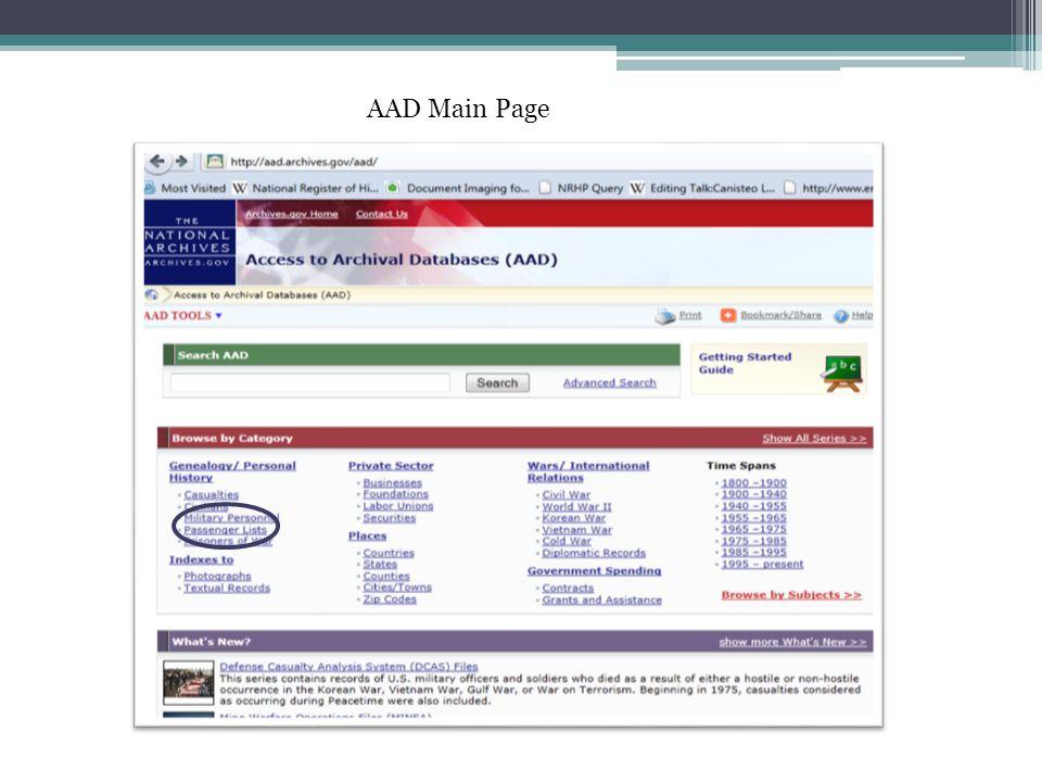 AAD Main Page