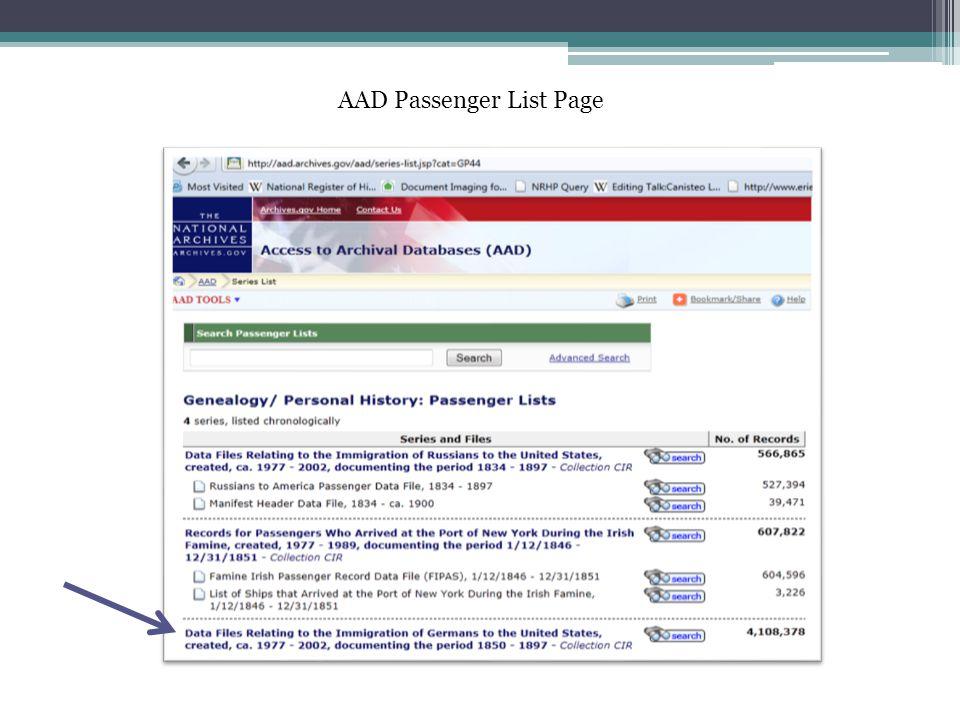 AAD Passenger List Page