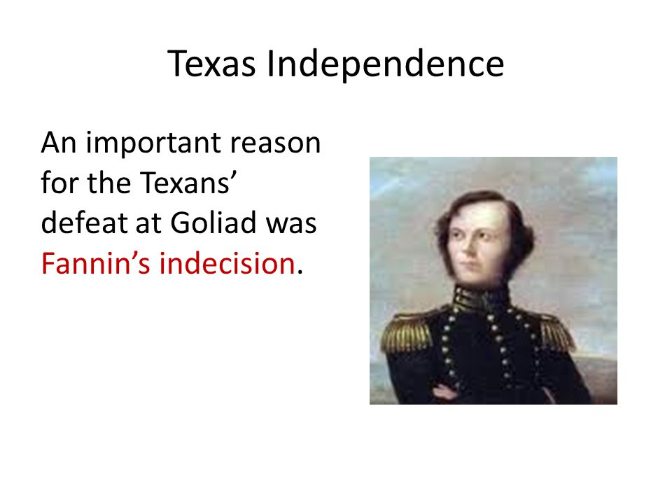 Texas Independence An important reason for the Texans' defeat at Goliad was Fannin's indecision.
