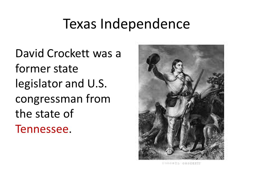 Texas Independence David Crockett was a former state legislator and U.S.
