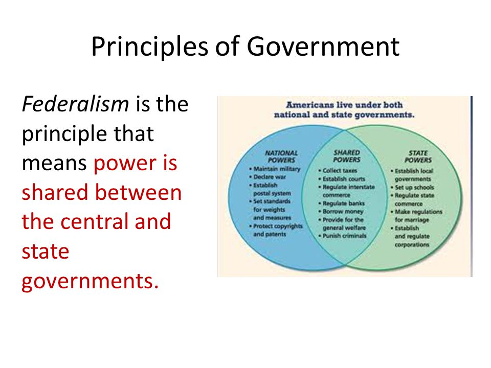 Principles of Government Federalism is the principle that means power is shared between the central and state governments.