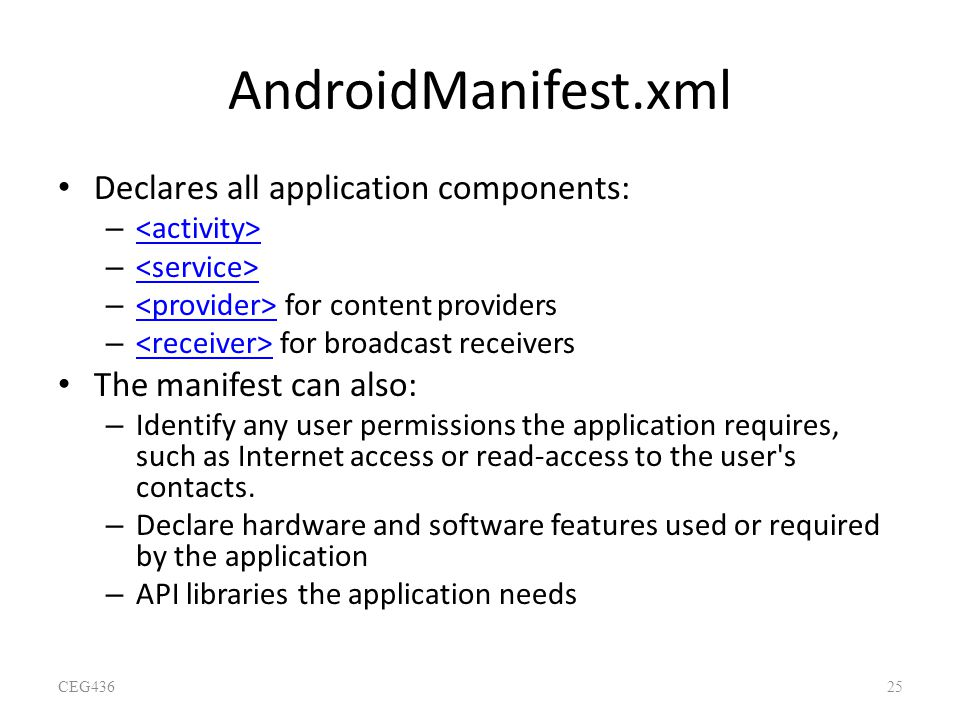 AndroidManifest.xml Declares all application components: – – – for content providers – for broadcast receivers The manifest can also: – Identify any u