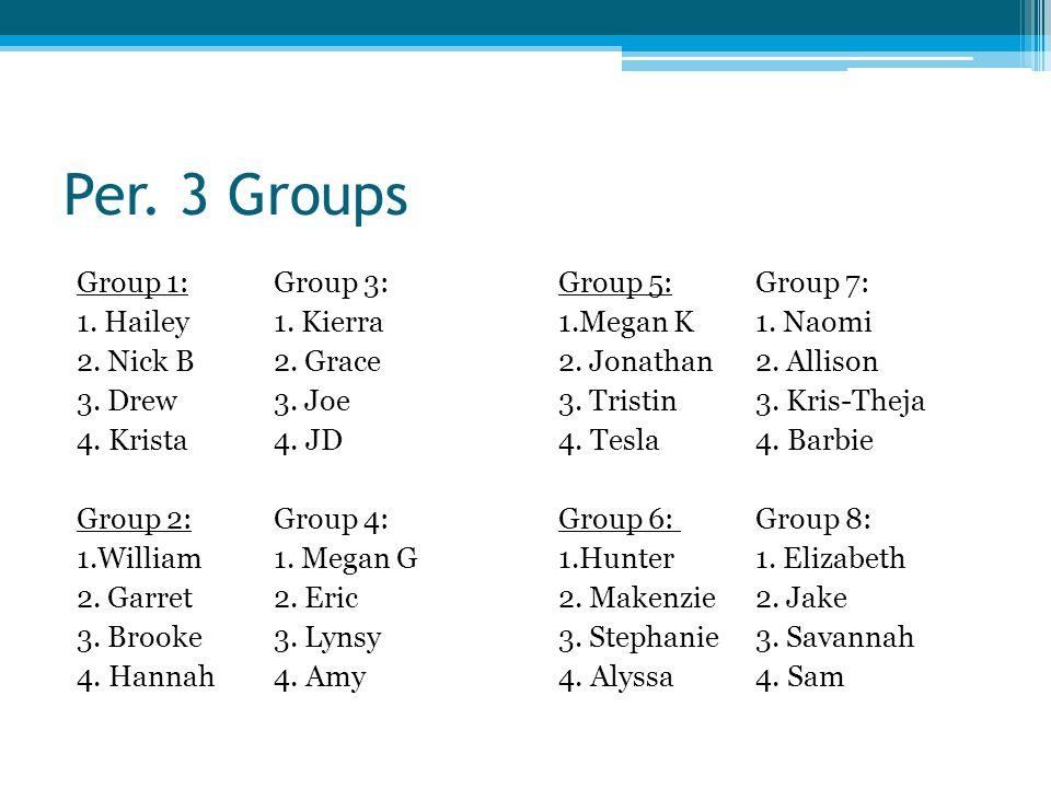 Per.3 Groups Group 1:Group 3: 1. Hailey1. Kierra 2.