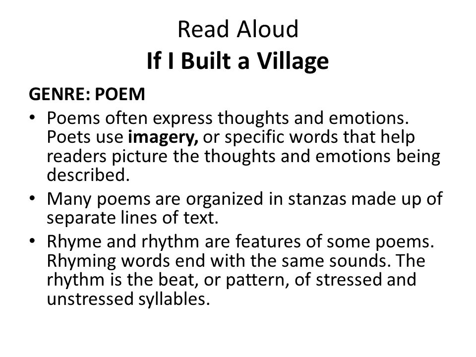 Read Aloud If I Built a Village A trout is a kind of fish.