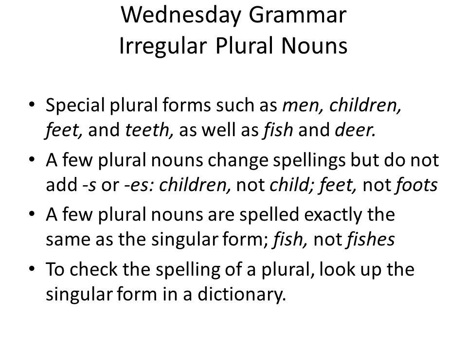 Wednesday Grammar Irregular Plural Nouns Practice: Adding –s 1.