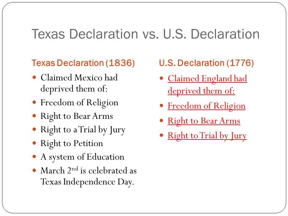 Texas Declaration vs. U.S. Declaration Texas Declaration (1836)U.S.