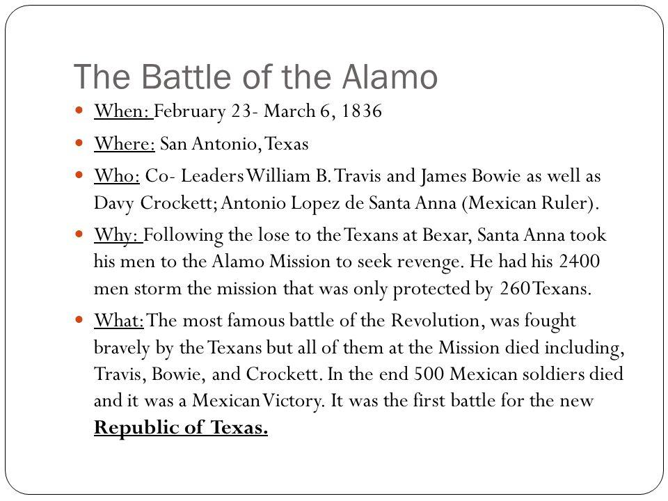 The Massacre at Goliad When: March 27, 1836 Who: Colonel Jose Nicholas Portilla (Mexicans); Colonel Fannin (Texans).
