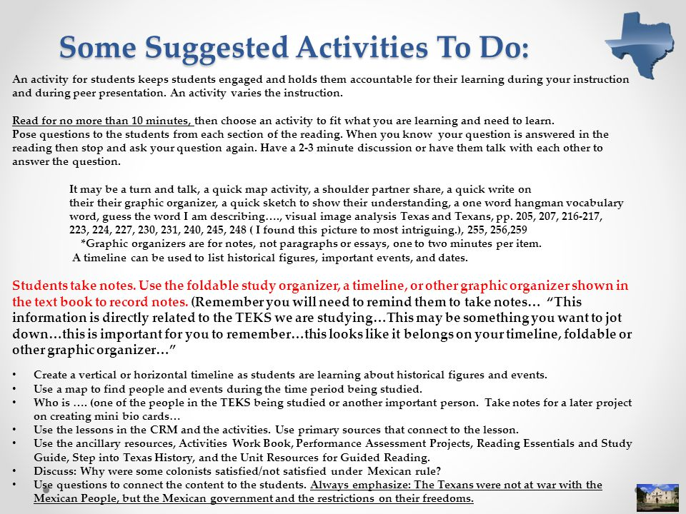 Some Suggested Activities To Do: An activity for students keeps students engaged and holds them accountable for their learning during your instruction and during peer presentation.