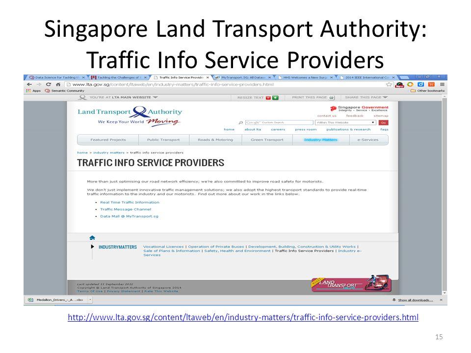 Singapore Land Transport Authority: Traffic Info Service Providers http://www.lta.gov.sg/content/ltaweb/en/industry-matters/traffic-info-service-providers.html 15