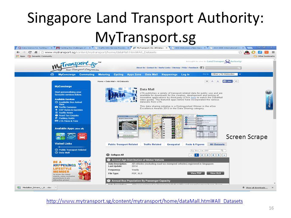 Singapore Land Transport Authority: MyTransport.sg 16 http://www.mytransport.sg/content/mytransport/home/dataMall.html#All_Datasets Screen Scrape