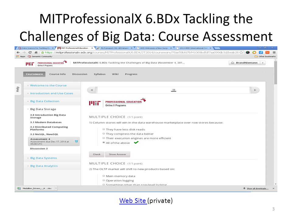 MITProfessionalX 6.BDx Tackling the Challenges of Big Data: Course Assessment 3 Web Site Web Site (private)