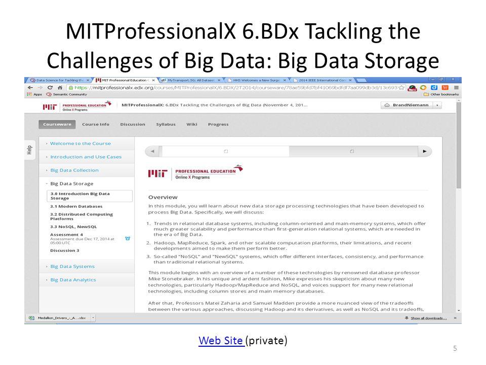MITProfessionalX 6.BDx Tackling the Challenges of Big Data: Big Data Storage 5 Web Site Web Site (private)
