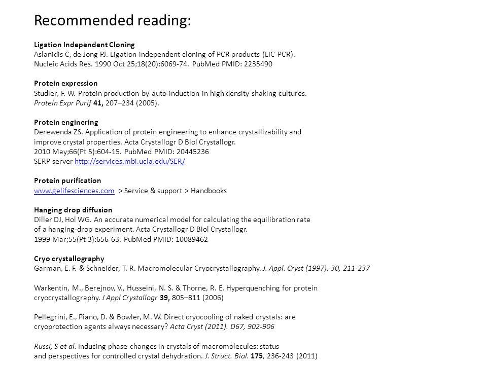 Recommended reading: Ligation Independent Cloning Aslanidis C, de Jong PJ.