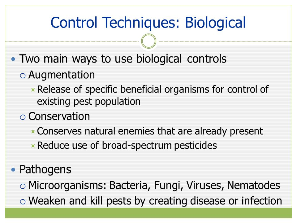 Control Techniques: Biological Two main ways to use biological controls  Augmentation  Release of specific beneficial organisms for control of existing pest population  Conservation  Conserves natural enemies that are already present  Reduce use of broad-spectrum pesticides Pathogens  Microorganisms: Bacteria, Fungi, Viruses, Nematodes  Weaken and kill pests by creating disease or infection