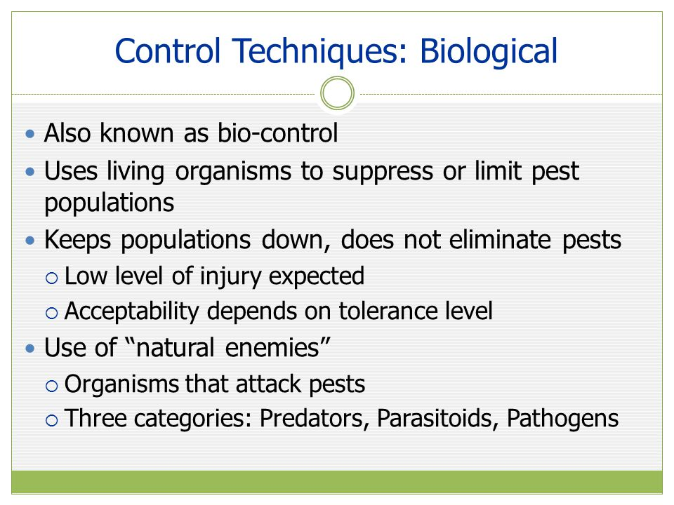 Control Techniques: Biological Two main ways to use biological controls  Augmentation  Release of specific beneficial organisms for control of existing pest population  Conservation  Conserves natural enemies that are already present  Reduce use of broad-spectrum pesticides Pathogens  Microorganisms: Bacteria, Fungi, Viruses, Nematodes  Weaken and kill pests by creating disease or infection