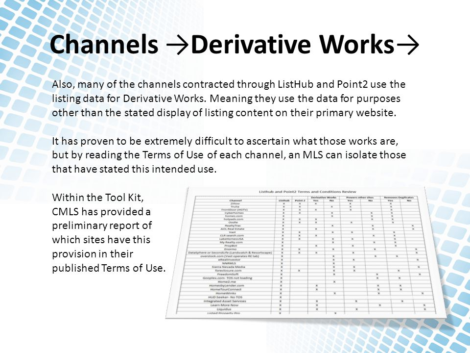 Channels →Derivative Works→ Also, many of the channels contracted through ListHub and Point2 use the listing data for Derivative Works. Meaning they u